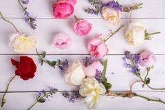 Composição festiva da flor no fundo de madeira branco Vista aérea Fotografia de Stock Royalty Free