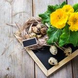 Composição festiva da Páscoa com flores e ovos de codorniz Imagens de Stock Royalty Free