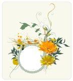 Composição floral de Grunge com pássaros Ilustração do Vetor