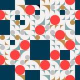 Composição futurista do teste padrão com quadrados e círculo Imagens de Stock Royalty Free