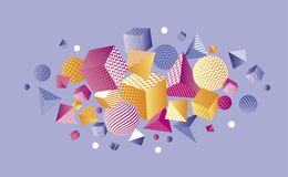 Composição geométrica da cor 3d do conceito Imagem de Stock