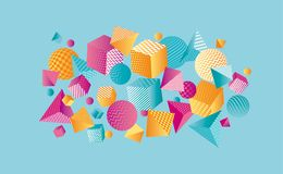 Composição geométrica da cor 3d do conceito Fotos de Stock Royalty Free