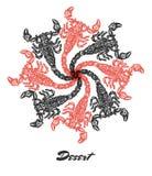 Composição gravada humor da tomada do fractal do deserto do vetor Foto de Stock Royalty Free