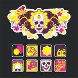 Composição incomun com um crânio e ícones Imagens de Stock Royalty Free