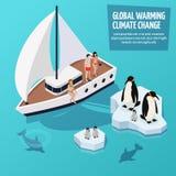 Composição isométrica das alterações climáticas ilustração stock