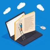 Composição isométrica dos ícones da educação em linha com computação eletrônica da biblioteca e da nuvem do smartphone do livro d ilustração do vetor