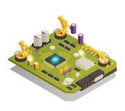 Composição isométrica dos componentes eletrônicos do semicondutor ilustração stock