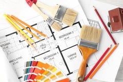 Composição lisa com paleta de cores, plano da configuração da casa ilustração royalty free