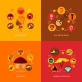 Composição lisa dos ícones de África Fotografia de Stock Royalty Free