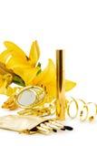 A composição luxuosa ajustou-se no branco Fotografia de Stock Royalty Free