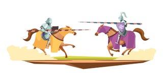 Composição medieval dos desenhos animados da competição das malhas Imagens de Stock Royalty Free