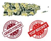 Composição militar da camuflagem do mapa de Porto Rico e de selos secretos Textured ilustração royalty free