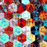 Composição moderna da arte abstrato Projeto artístico do teste padrão de matéria têxtil Estilo psicadélico Fundo azul vermelho Il Imagem de Stock Royalty Free