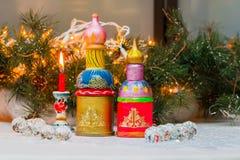 Composição no estilo do russo, igreja do Natal do russo dos modelos Imagens de Stock