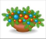 Composição original de ramos de árvore do Natal S?mbolo tradicional do ano novo Cria um humor festivo Decorado com brilhante ilustração royalty free
