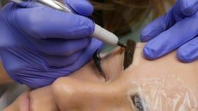 Composição permanente da sobrancelha profissional tatuagem das testas do close-up Movimento lento vídeos de arquivo