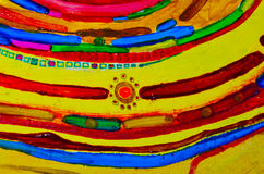 Composição pitoresca abstrata Tiragem com pinturas de óleo Raios amarelos do sol, fitas, estrelas, centro Foto de Stock Royalty Free