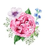 Composição quadrada das rosas das flores, da hortênsia, das flores da árvore de maçã e das folhas no estilo da aquarela isoladas  Imagens de Stock