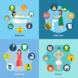 Composição quadrada dos ícones lisos da higiene 4 Fotos de Stock