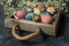 Composição rústica do estilo do fundo mínimo de easter da mola - ovos da páscoa naturalmente tingidos orgânicos fotografia de stock royalty free