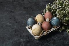 Composição rústica do estilo do fundo mínimo de easter da mola - ovos da páscoa naturalmente tingidos orgânicos fotos de stock