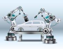 Composição realística do braço robótico ilustração royalty free