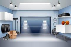 Composição realística interior da garagem ilustração royalty free