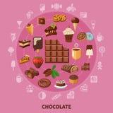 Composição redonda do chocolate ilustração royalty free