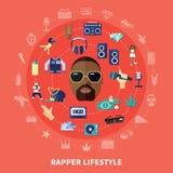 Composição redonda do estilo de vida do rapper ilustração royalty free