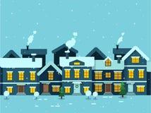 Composição retangular da cidade do inverno e de p caligráfico moderno Imagens de Stock Royalty Free