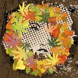 Composição retro de Grunge com mulher e folhas Imagem de Stock