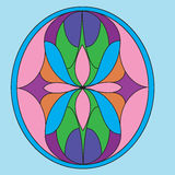 A composição simétrica, ilustrações do vetor no vitral ganha Foto de Stock Royalty Free