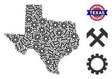 Composição Texas Map de ferramentas industriais ilustração do vetor