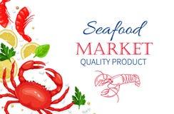 Composição vermelha do vetor do jantar da lagosta Alimento saudável que cozinha o conceito ilustração do vetor