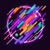 Composições abstratas das cores arredondadas das faixas, as futuristas e as modernas e as de néon Vector moldes para cartazes, ba Imagem de Stock Royalty Free