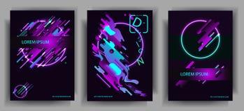 Composições abstratas das cores arredondadas das faixas, as futuristas e as modernas e as de néon Vector moldes para cartazes, ba Imagens de Stock Royalty Free