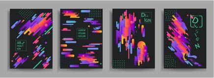 Composições abstratas das cores arredondadas das faixas, as futuristas e as modernas Vector moldes para cartazes, bandeiras, inse Fotos de Stock Royalty Free