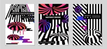 Composições abstratas das cores arredondadas das faixas, as futuristas e as modernas Molde do vetor Foto de Stock Royalty Free