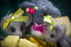 Composições artísticas com animais feitos malha Foto de Stock