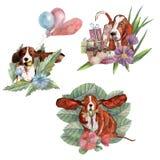 Composições com raposas, árvores e folhas ilustração do vetor
