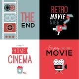 Composições do cinema com texto fotografia de stock