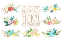 Composições florais ilustração royalty free