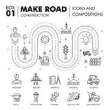 Composições modernas que constroem a linha bloco f da construção de estradas finamente Imagens de Stock
