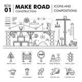 Composições modernas que constroem a linha bloco f da construção de estradas finamente Fotos de Stock Royalty Free