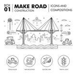Composições modernas que constroem a linha bloco f da construção de estradas finamente Imagem de Stock Royalty Free