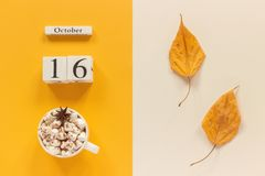 Composi??o do outono Calend?rio o 16 de outubro de madeira, copo do cacau com marshmallows e folhas de outono amarelas no fundo b imagem de stock