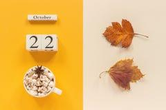 Composi??o do outono Calend?rio o 22 de outubro de madeira, copo do cacau com marshmallows e folhas de outono amarelas no fundo b imagens de stock