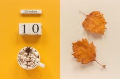 Composi??o do outono Calend?rio o 10 de outubro de madeira, copo do cacau com marshmallows e folhas de outono amarelas no fundo b imagens de stock