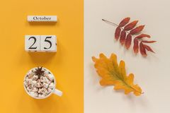 Composi??o do outono Calend?rio o 25 de outubro de madeira, copo do cacau com marshmallows e folhas de outono amarelas no fundo b fotos de stock