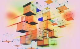 Composi??o geom?trica abstrata Cubos volumétricos em um fundo claro ilustração stock